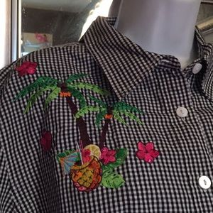 Cute checkered top with tiki party embroidery  XL